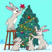 Hare Pine Tree — Stock Vector