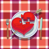Valentine's Day Lunch — Stock Vector
