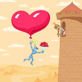 Valentine's Day Of Princess In A Tower — Stock Vector