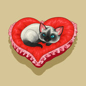 Kitty on red heart shaped pillow — Stock Vector