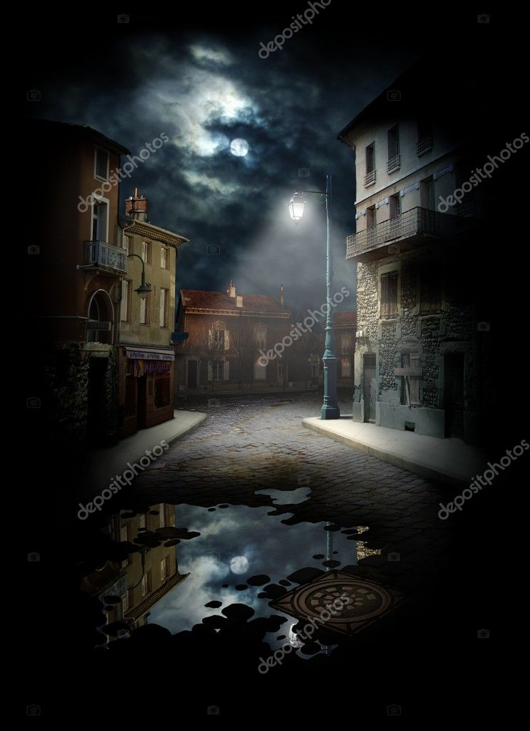 Night Street, photocollage (a lot of my shots as a source). — Foto Stock #4899363