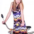 Girl on bicycle — Stock Photo