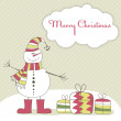 Stock Vector: Christmas card with snow man. Vector illustration