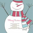 Christmas card with Snow man. Vector illustration — Stock Vector