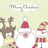 Santa, Reindeer, snow man. Vector illustration — Stock Vector