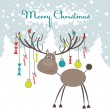 Christmas reindeer. Vector illustration — Stock Vector