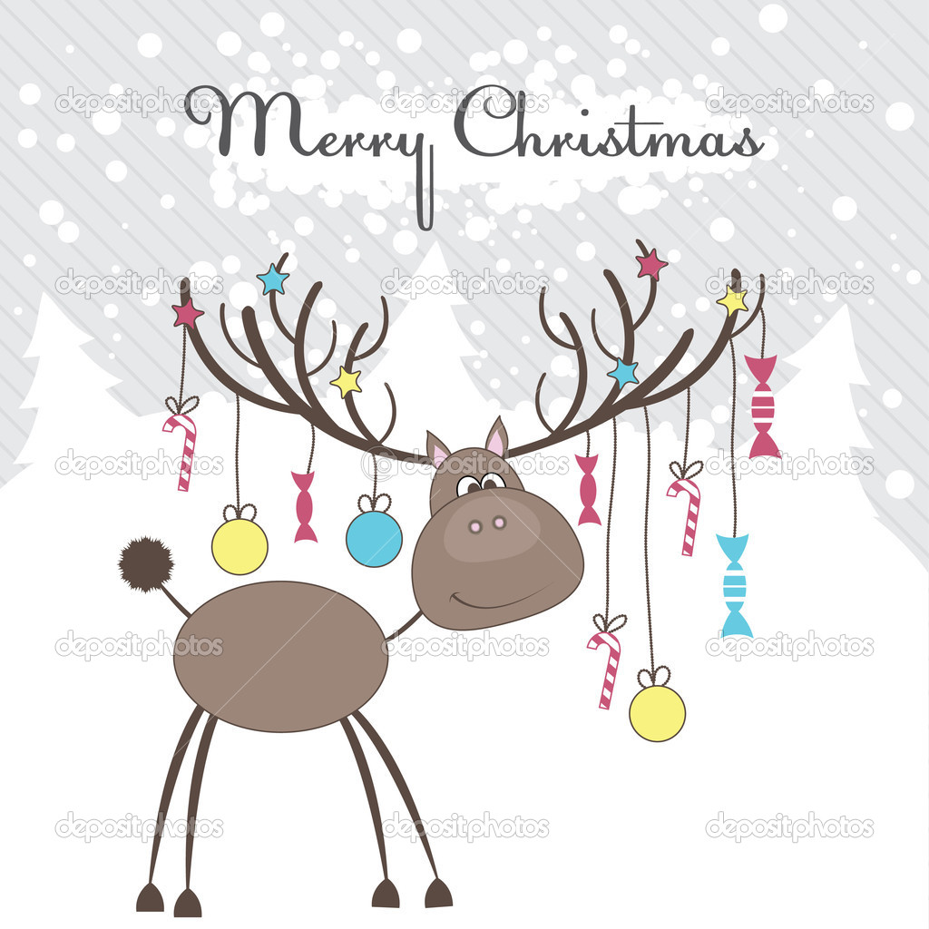 Christmas reindeer with fun gifts. Vector illustration — Stock Vector #4145034