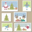 Christmas Postage stamps.Vector illustration — Stock Vector