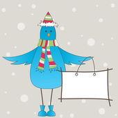 синяя птица с сообщением. векторные иллюстрации — Cтоковый вектор