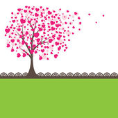 Tree with hearts. Vector illustration — Vecteur
