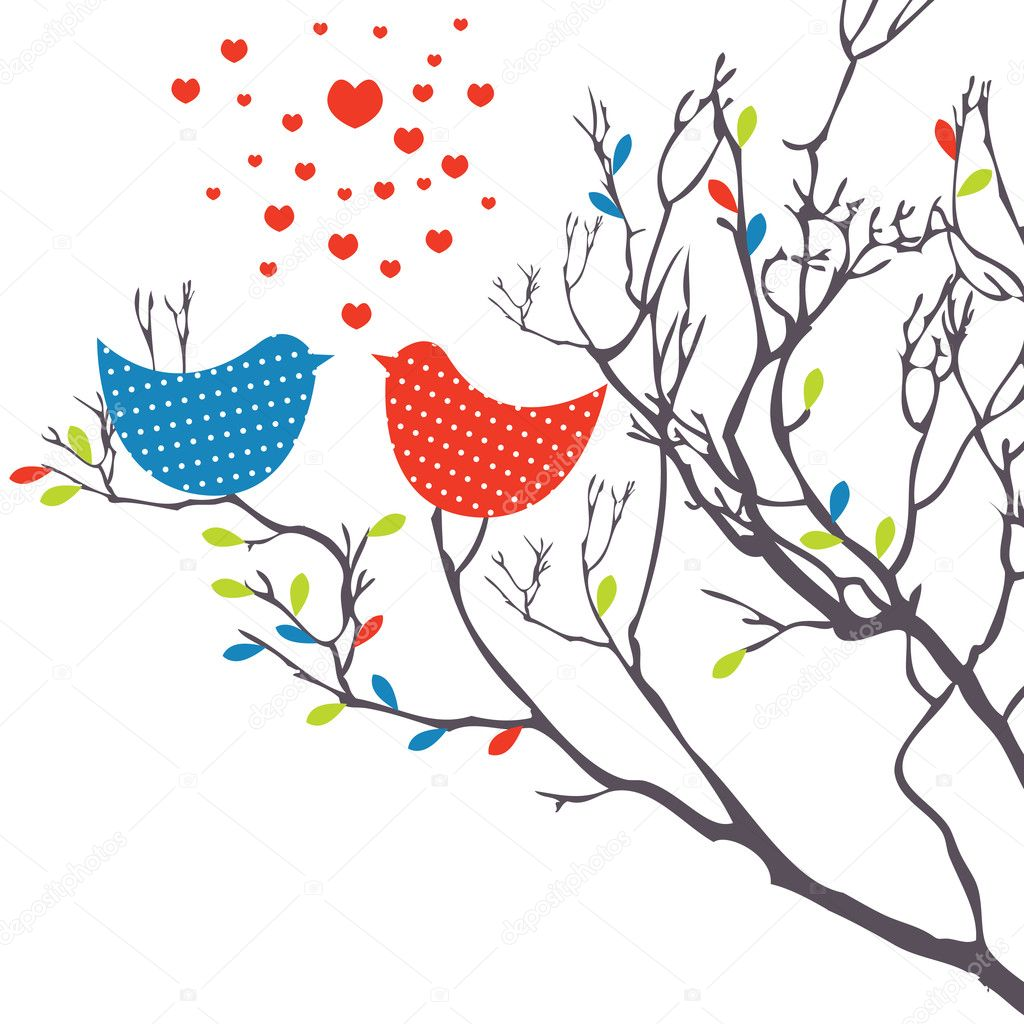 Background with birds in love. Vector illustration — Stock Vector #4801528
