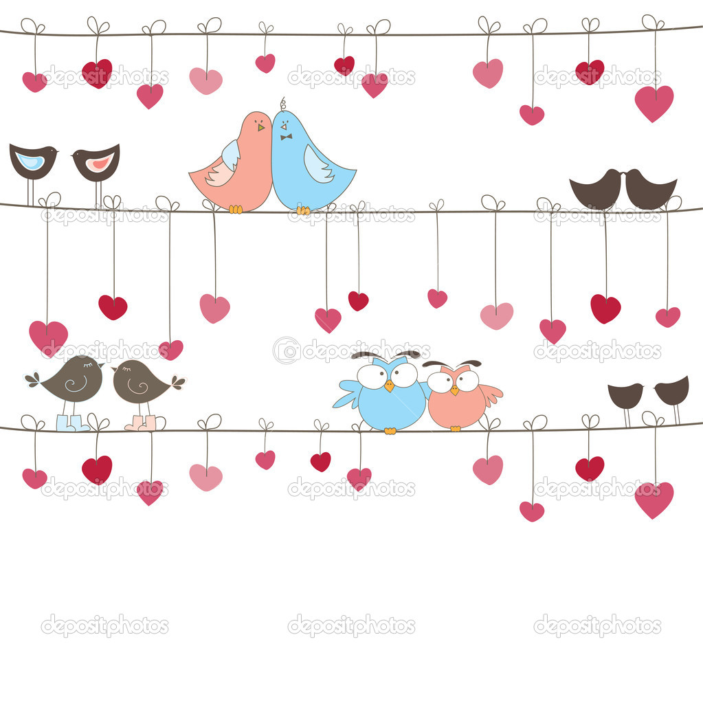 Background with birds in love for you. Vector illustration  — Векторная иллюстрация #4868727