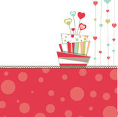 Valentine's background with cake — Stock Vector