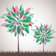 Abstract tree, flowers. Vector illustration - Stock Vector