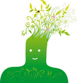 Green head — Stock Vector