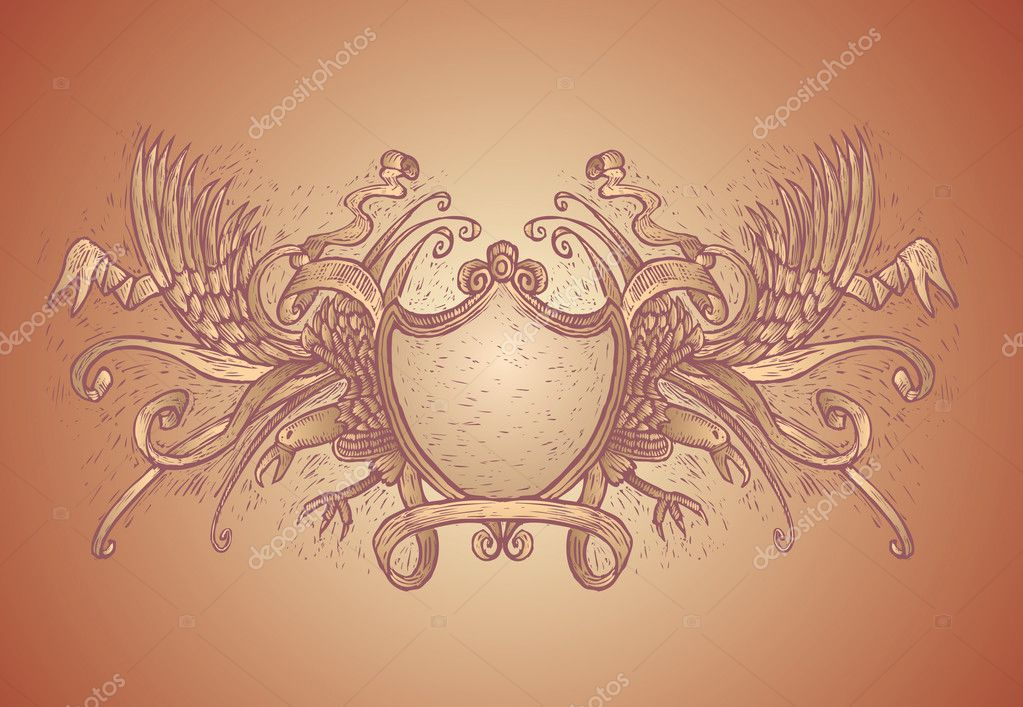 High detailed coat of arms in engrave style. All vector  Stock Vector #4375008