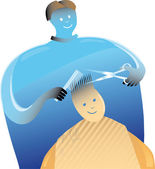 Barber with a boy — Stock Vector
