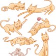 Six cats and one mouse — Image vectorielle