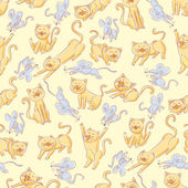 Seamless cats and mice pattern — Stok Vektör