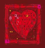 Big folk heart — Stock Vector