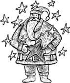 Santa Claus within stars — Stock Vector