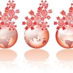 tres visiones de mundo de cristal de Navidad — Vector de stock
