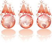 Trzy poglądy boże narodzenie na świecie szkła. — Wektor stockowy