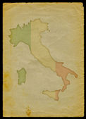 Italy map on old paper — 图库照片