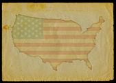 在旧的纸上的美国地图 — 图库照片