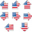 Stock Vector: USflag arrow placards