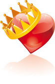 Glass crowned heart — Stock Vector