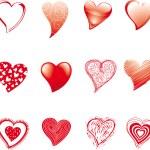 Twelve hearts — Stock Vector