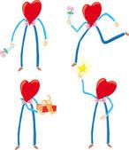 Dört kalp karakterler — Stok Vektör