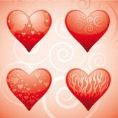 Four hearts — Stock Vector