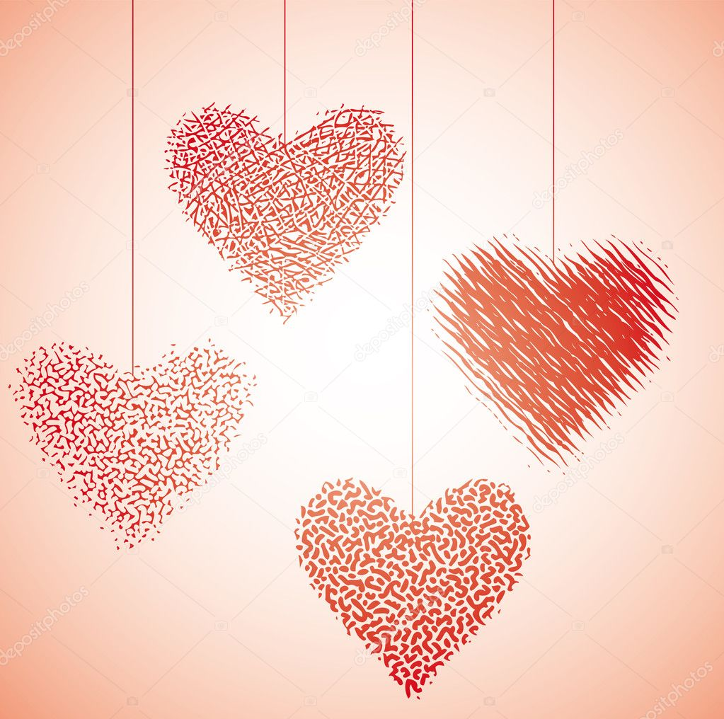 Four graphic valentine hanging hearts. Valentine concept — Stock Vector #4782008