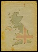 UK map on old paper I — ストック写真