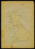 Mapa velká británie na starý papír ii — Stock fotografie