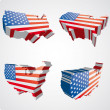 Four USA 3d views — Imagen vectorial