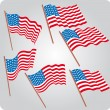 Six USA flags — Image vectorielle
