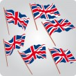 Six UK flags — Vector de stock #4818948