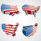 Quattro stati uniti viste 3d — Vettoriale Stock