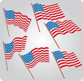 Six USA flags — Stock Vector