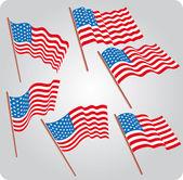 Six USA flags — Stock Vector