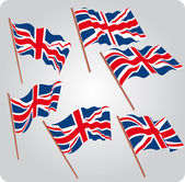 Six UK flags — Stock Vector