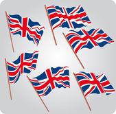Sex brittiska flaggor — Stockvektor