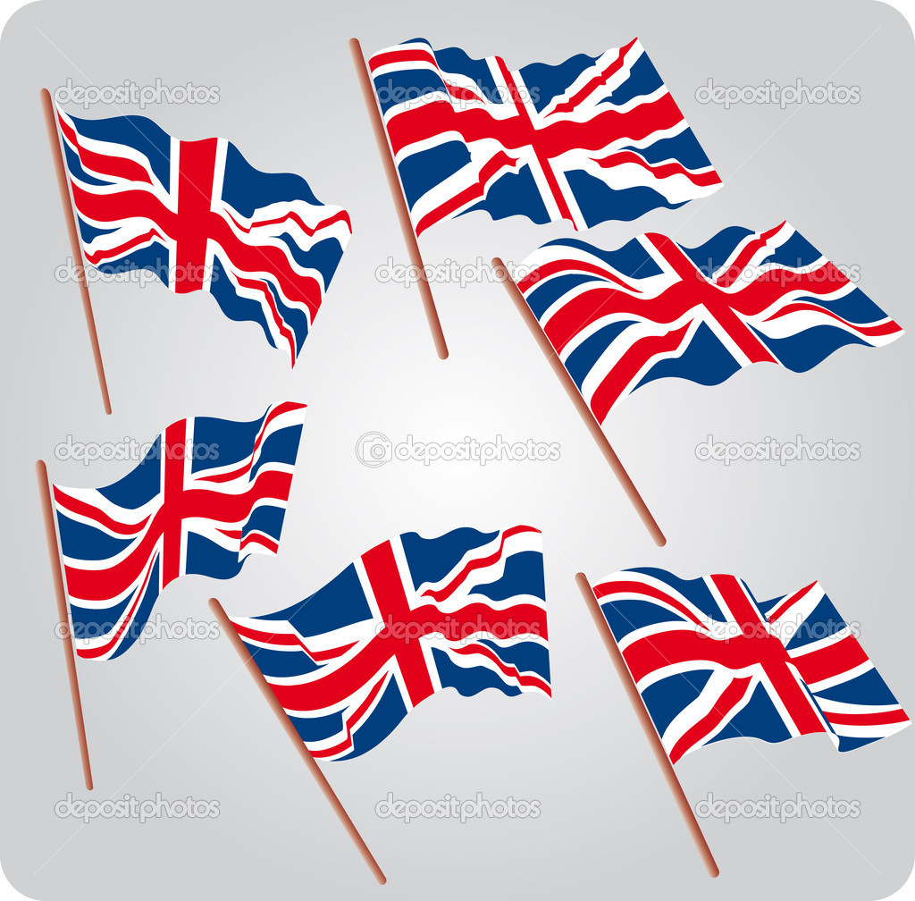 Set of six UK flags in various poses  Stock Vector #4818948