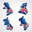 Stockvector : Four UK 3d views