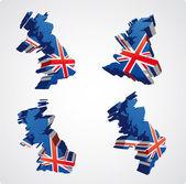 čtyři velké británii 3d zobrazení — Stock vektor
