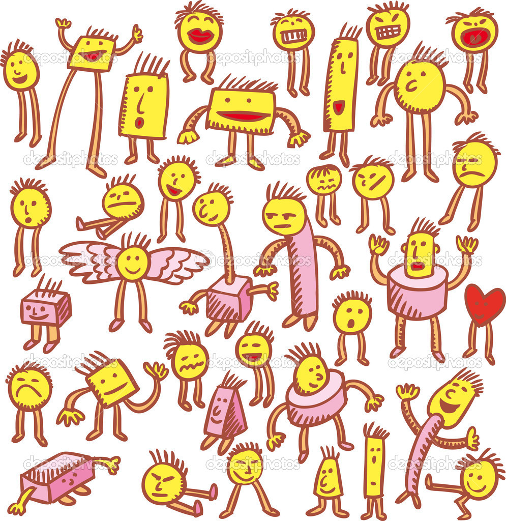Various characters hand drawn in emoticons style.Each character stand in his layer. — Stok Vektör #4829129