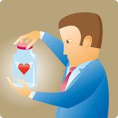 Corazón en una botella — Vector de stock